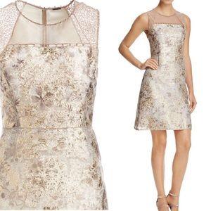 ELIE TAHARI Vera gold metallic brocade dress